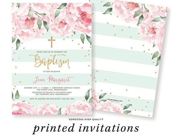 floral baptism invitation new baby christening invite new baby etsy
