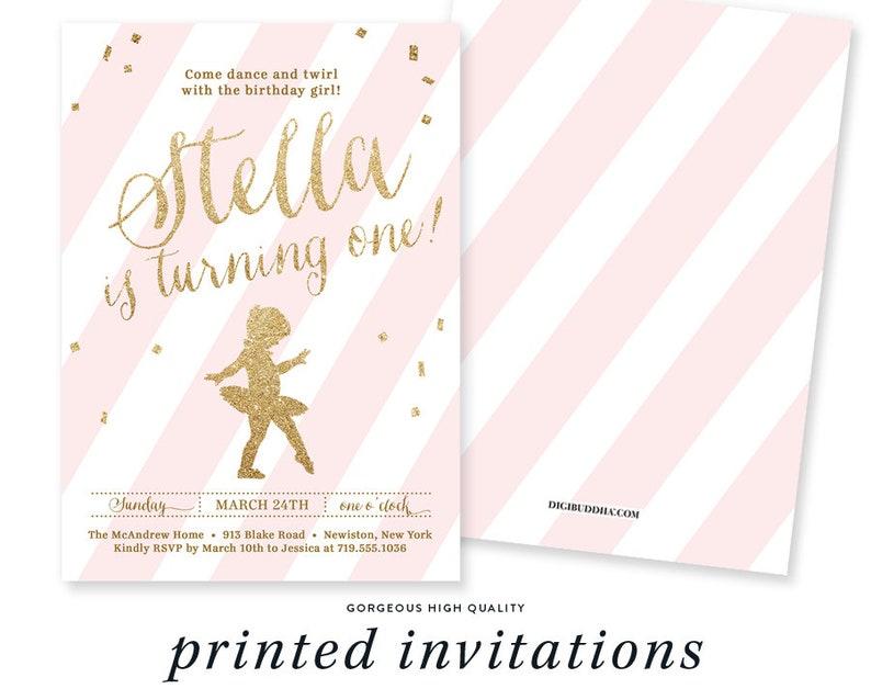 477905642ac Pink & Gold Glitter Birthday Invitation Ballerina Ballet | Etsy