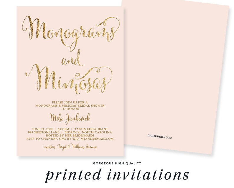 11d4c894234c MONOGRAMS   MIMOSAS INVITATION Bridal Shower Invite Blush Pink