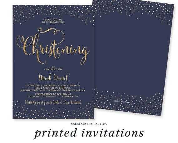 Boy Christening Invitation Navy Gold Glitter Confetti Baby Boy Baptism Party Christian Religious Invitation Cards Mila