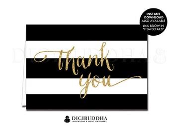 Black & White Stripe THANK YOU CARD Gold Glitter Folded A2 Printed Note Card Wedding Bridal Shower Graduation Notecard Blank Inside - Wendy