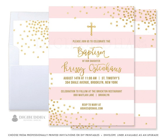 pink and gold baptism invitation baby girl baptism invitations etsy