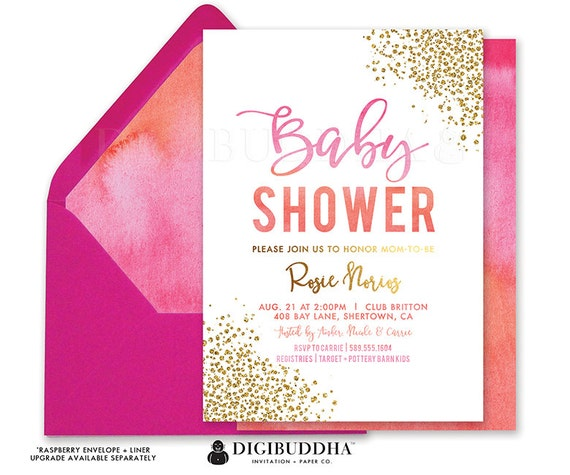 BABY SHOWER INVITATION Pink Orange Coral Watercolor Gold Baby Sprinkle Invites Brunch & Bubbly Ready Made or Printable Invite- Rosie