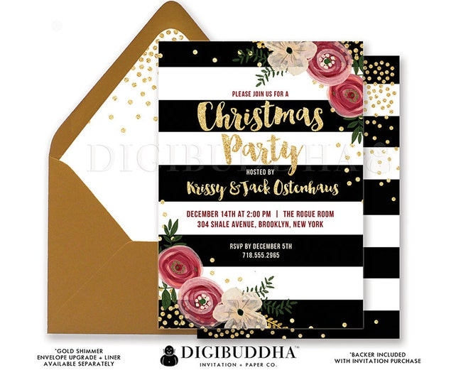 CHRISTMAS PARTY INVITATION Black + White Striped Gold Glitter Holiday Party Christmas Dinner Flowers Ready Made or DiY Printable - Krissy