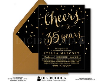 BLACK & GOLD RETIREMENT Invitation Elegant Cheers to Years Gold Glitter Confetti Surprise Calligraphy Free Shipping or DiY Printable- Stella