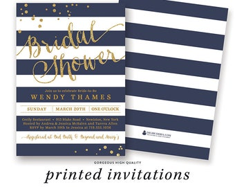 NAVY & GOLD BRIDAL Shower Invitation Stripes Invite Navy and Gold Glitter Modern Printed Bridal Shower Invitations Navy and Gold Bridal Card