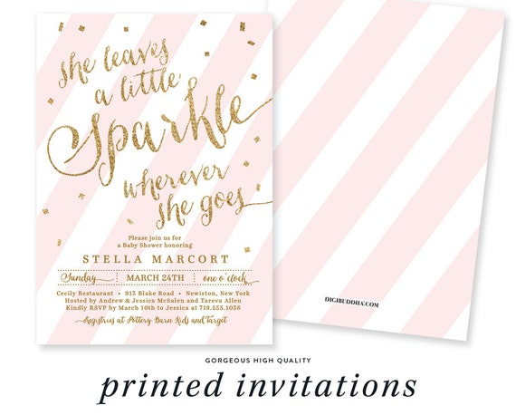 SHE LEAVES a Little SPARKLE Wherever She Goes Invitation Baby Shower