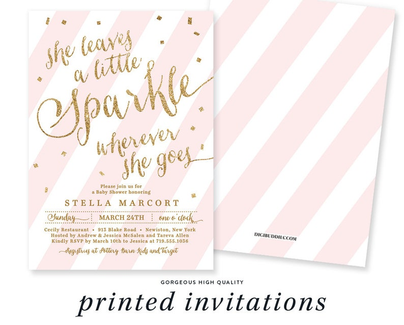 SHE LEAVES a Little SPARKLE Wherever She Goes Invitation Baby Shower Pink  Striped Gold Glitter Confetti Girl - Stella