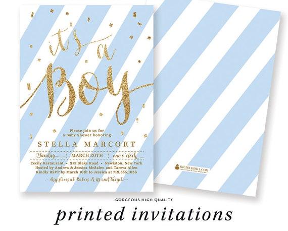 Boy Baby Shower Invitation Blue Stripes Baby Shower Invite Etsy