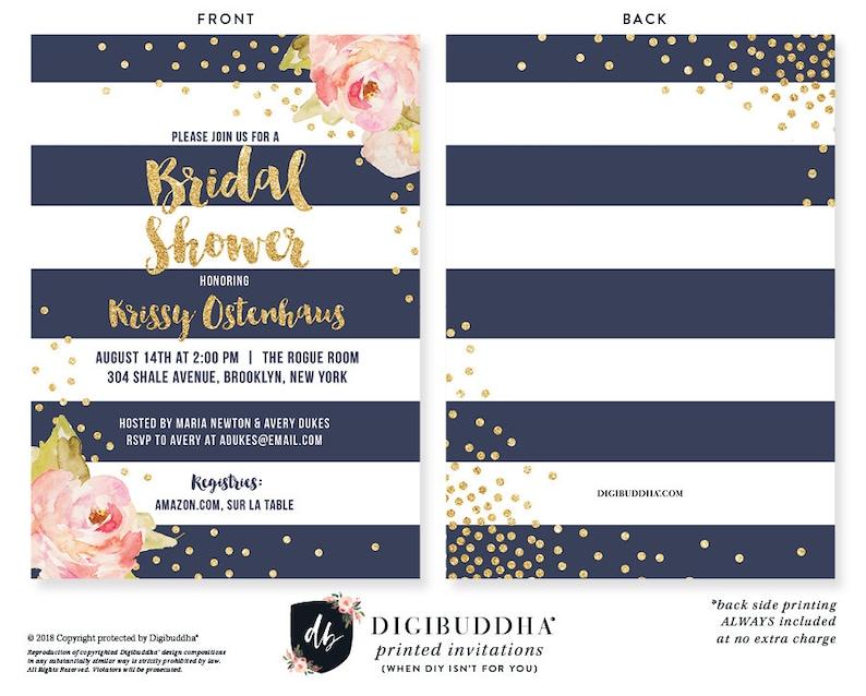 Bridal Shower Invitation Wedding Shower Invite Pink Peonies Etsy