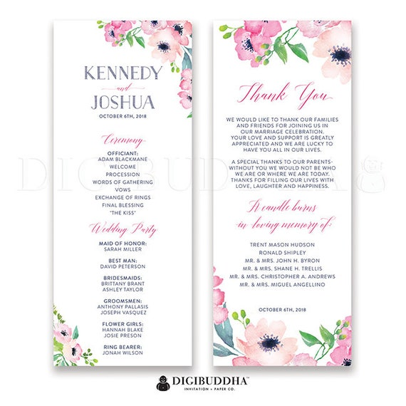 Wedding Ceremony Order.Floral Watercolor Wedding Program Wedding Suite Wedding Ceremony