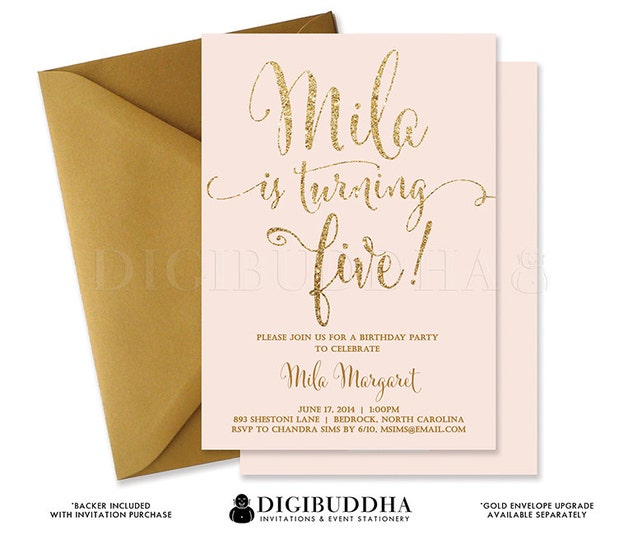 PINK & GOLD GLITTER Fifth Birthday Invitation Blush Confetti 5TH Printable Invite Girl Turning Five Free Shipping or DiY Printable- Mila