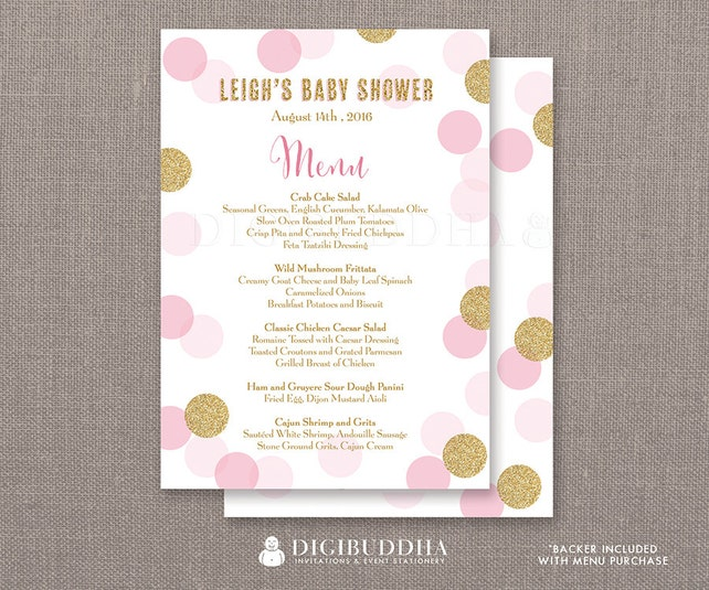 Pink & Gold Glitter Dots Menu Baby Shower Party Menu It's A Girl Sprinkle Lunch Brunch Dinner Confetti Dots DIY Printable or Printed - Leigh