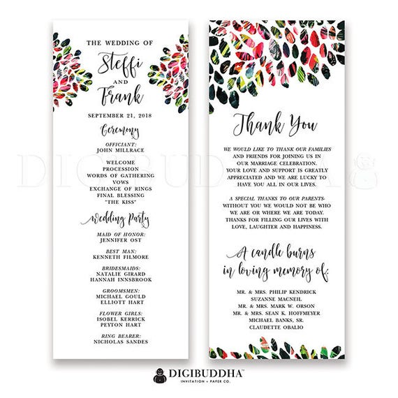 Wedding Ceremony Order.Colorful Wedding Program Wedding Programs Wedding Suite Wedding