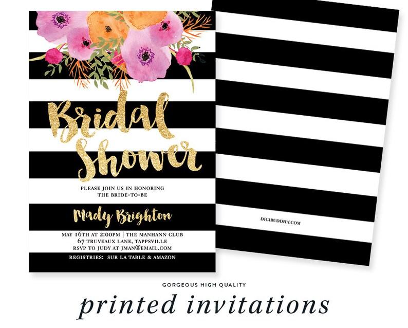 09ae1fb28ed96 Black & White Bridal Shower Invitation Stripes Gold Glitter Modern  Watercolor Flowers Wedding - Mady
