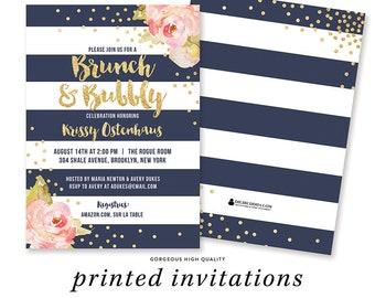 BRUNCH & BUBBLY INVITATION Bridal Shower Invite Pink Peonies Navy Stripes Gold Glitter Confetti Bridal Shower Brunch Ideas Bridal Shower