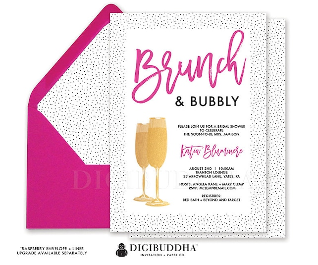 BRUNCH & BUBBLY INVITATION Bridal Shower Invitation Tiny Dots Fuchsia Hot Pink Gold Faux Foil Modern Printed Bridal Shower Invite - Katia