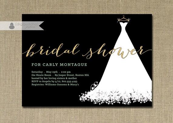 Gold Glitter Bridal Shower Invitation Wedding Gown Mint Green