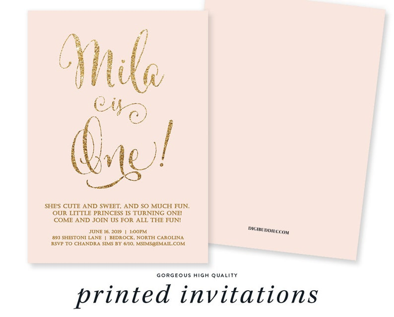 Blush Pink Gold Birthday Invitation Girl Glitter Pastel