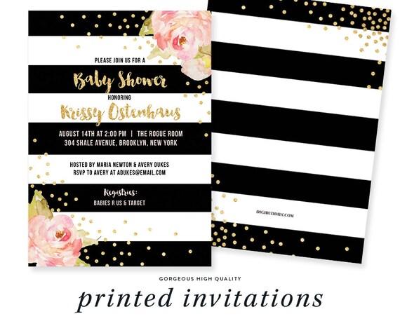 7f124c38c BLACK & WHITE BABY Shower Invitation Pink Peonies Black Stripes Gold  Glitter Confetti - Krissy
