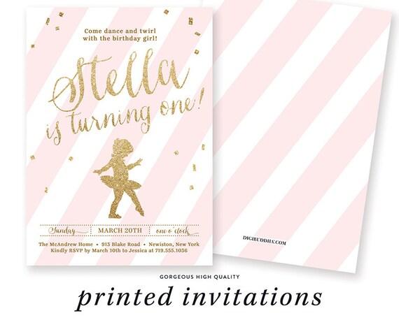 Pink gold glitter birthday invitation ballerina ballet etsy image 0 filmwisefo