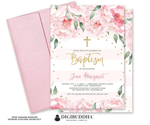 floral baptism invitation baby girl christening invite girl baptism