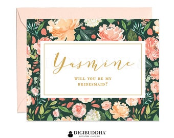 Personalized Bridesmaid Cards, Matron of Honor, Custom Ask Bridesmaid Card, Bridesmaid Maid of Honor, Personalized Flower Girl Card - WC0020