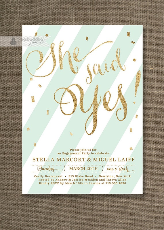 Gold Glitter Engagement Party Invitation She Said Yes Stripes Mint Confetti Sprinkle Modern FREE PRIORITY SHIPPING or DiY Printable - Stella