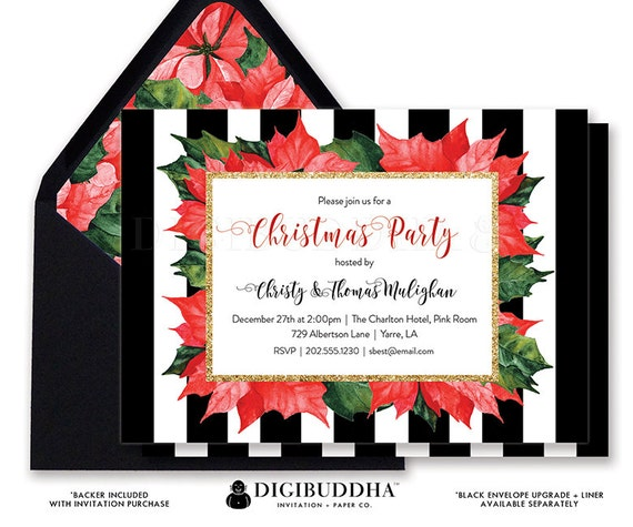CHRISTMAS PARTY INVITATION Holiday Party Card Stripe Christmas Party Invite Printable Christmas Party Pinecone Printed Holiday Party - Blair