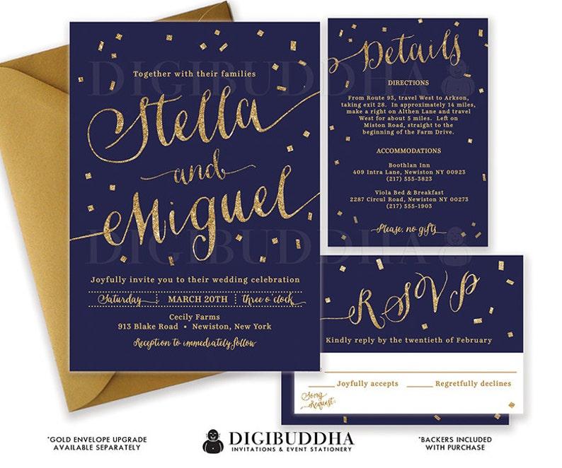 Navy Gold Wedding Invitation Gold Glitter Confetti 3 Pc Suite RSVP  Enclosure Detail Card Invite Free Shipping Printed Wedding Suite - Stella
