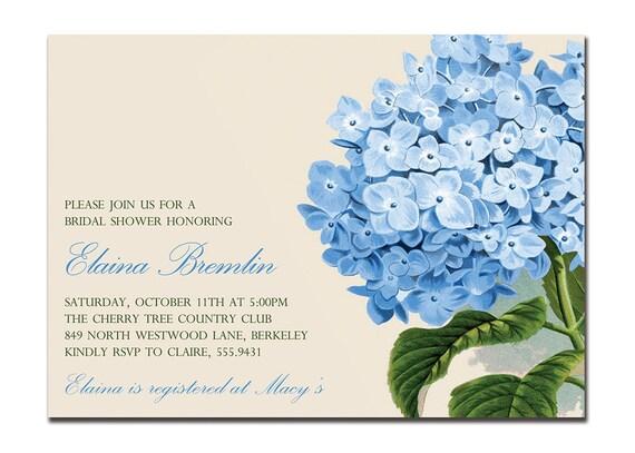 hydrangea bridal shower invitation blue hydrangea invites for etsy