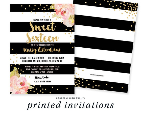 SWEET SIXTEEN INVITATION Black White Stripe Birthday Pink Peonies Gold Glitter Confetti Printable Invite Rose Free Shipping Or DiY Krissy