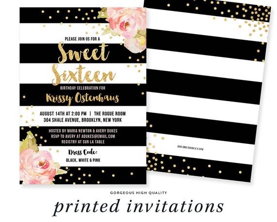SWEET SIXTEEN INVITATION Black White Stripe Birthday Pink