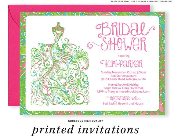 Lilly Pulitzer Inspired Bridal Shower Invitation Gown Preppy Shabby Chic Pink Green Printed Invitations