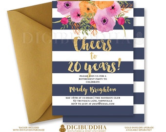 NAVY & GOLD RETIREMENT Invitation Stripes Cheers to Years Gold Glitter Watercolor Flowers Free Priority Shipping or DiY Printable- Mady