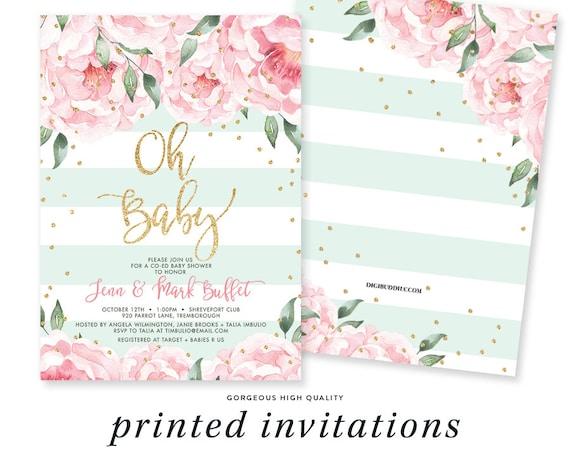 Coed Baby Shower Invitation Gold Confetti Baby Shower Etsy