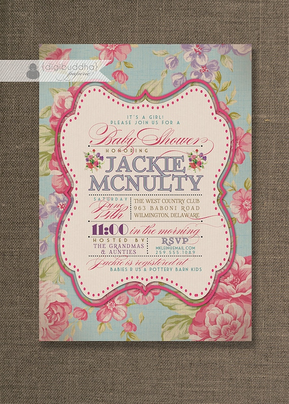 English rose baby shower invitation chic floral girl rose filmwisefo