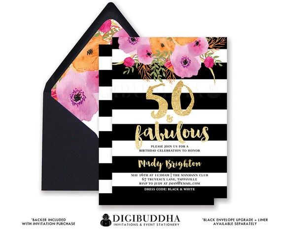 50 FABULOUS BIRTHDAY INVITATION Black And White Stripe Gold