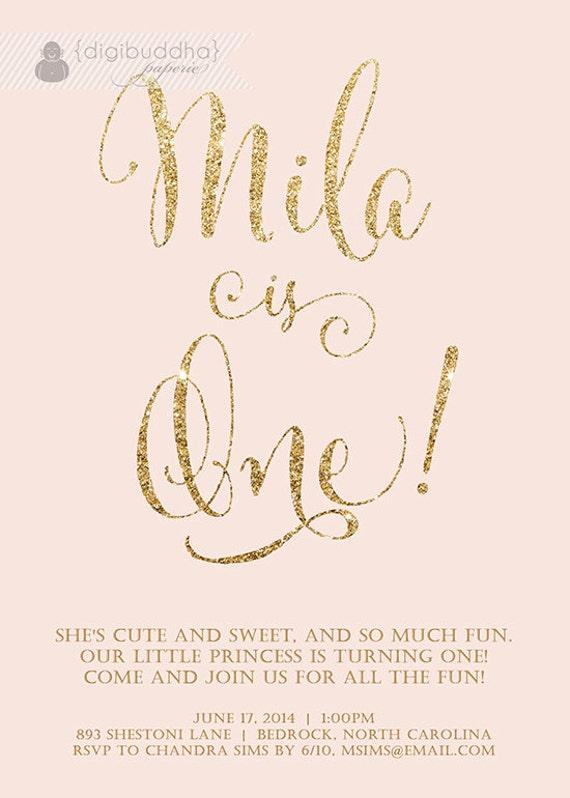 Blush Pink Gold Birthday Invitation Girl Glitter Pastel