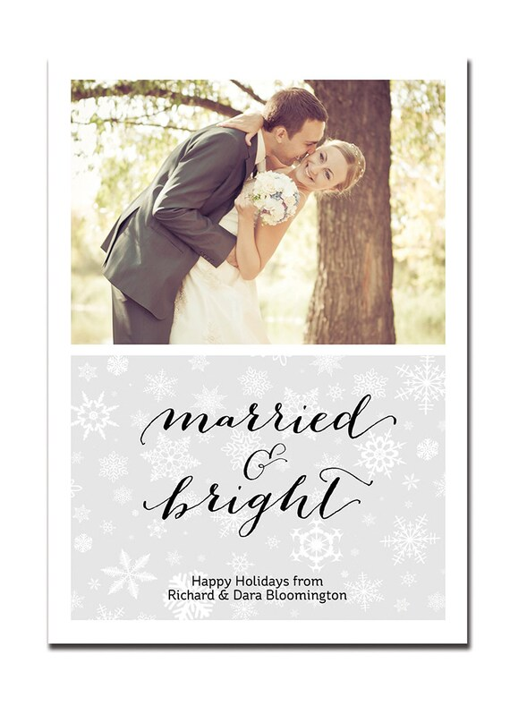 Newlyweds Holiday Card First Christmas Card Married & Bright Couple Snowflake Greeting FREE PRIORITY SHIPPING or DiY Printable - Bloomington