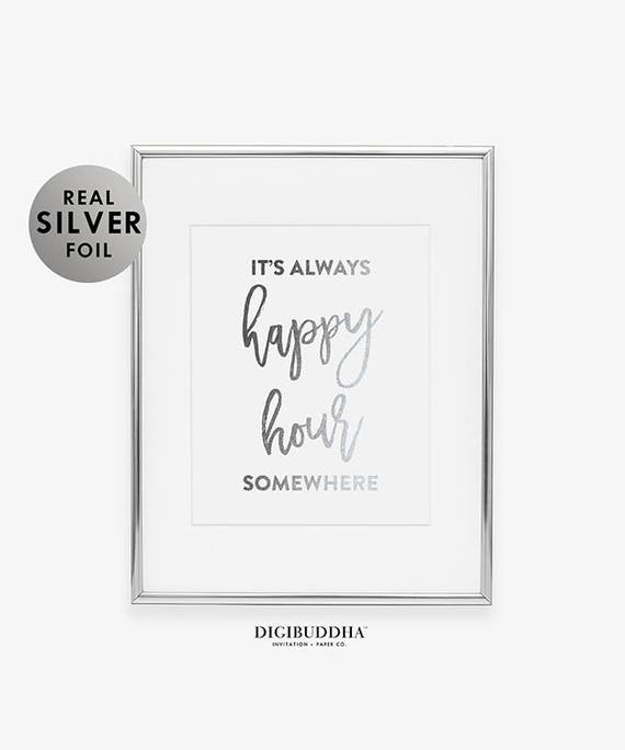Its Always Happy Hour Somewhere Alcohol Liquor Embossed Metal Sign