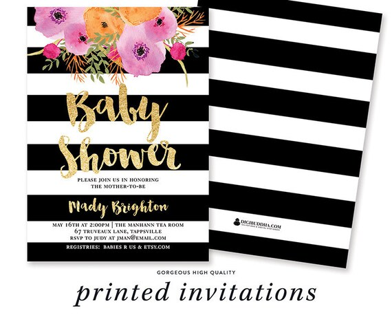 Baby Shower Invitation Girl Girl Baby Shower Invite Black Etsy