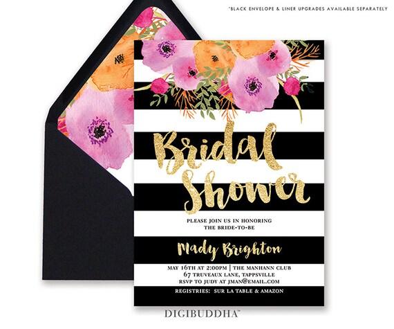 Black White Bridal Shower Invitation Stripes Gold Glitter
