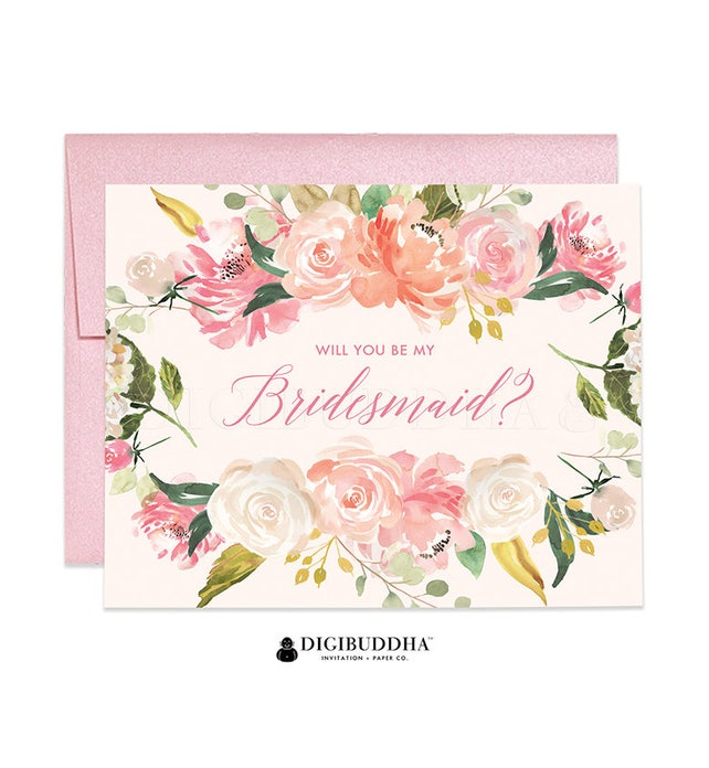 Will You Be My Bridesmaid Card, Bridesmaid Cards, Matron of Honor Ask Bridesmaid Card Maid of Honor Flower Girl Card Shimmer Envelope WC0003