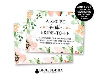 Floral Bridal Shower Recipe Insert Card Custom Invitation Insert Cards Bridal Shower Insert Printed Info Card Printable Insert Card - Kaylee