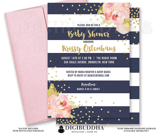NAVY & WHITE BABY Shower Invitation Peonies Navy Stripes Gold Glitter Confetti Ready Made Invite Rose Free Shipping or DiY Printable- Krissy