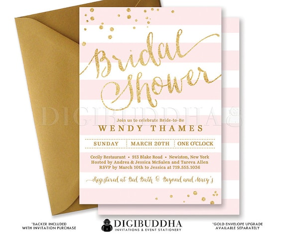 Blush PINK & GOLD BRIDAL Shower Invitation Stripes Printable Invite Pink Gold Glitter Modern Wedding Free Priority Shipping or DiY- Wendy