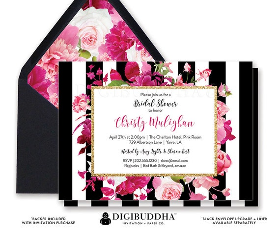 Bridal shower invitation bridal shower invite black white etsy image 0 filmwisefo