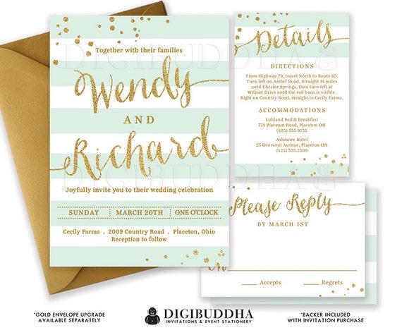 Mint Gold Wedding Invitation Glitter Confetti 3 Pc Suite