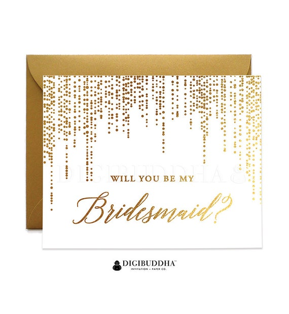 Gold Cards Wedding Card Bride and Groom Cards Wedding Cards Card Junior Bridesmaid Will You Be My Personal Attendant Real Foil